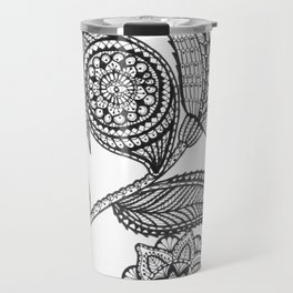 Black floral doodle bliss Travel Mug