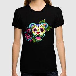 Smiling Pit Bull in White - Day of the Dead Pitbull Sugar Skull T-shirt