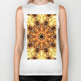 Yellow Brown Mandala Abstract Flower Biker Tank