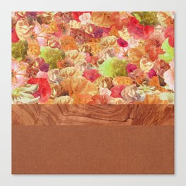 Layers Floral Wood Canvas Print