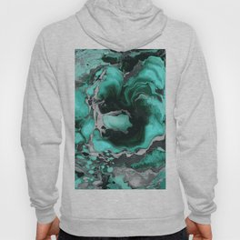 Teal and black Marble texture acrylic Liquid paint art Hoody