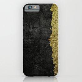 Black grunge & gold torn iPhone Case