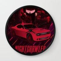 nightcrawler Wall Clocks featuring Nightcrawler by Anton Yeroma