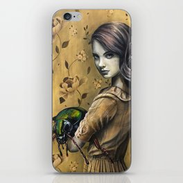 Portrait of a girl with her pet beetle iPhone Skin