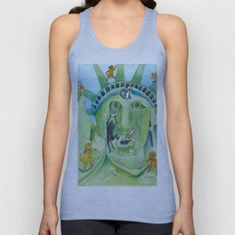 Statue of Liberty Canine Style Unisex Tank Top