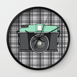 Vintage Camera with Plaid Wall Clock