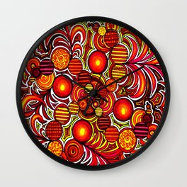 Orange Spirals Wall Clock