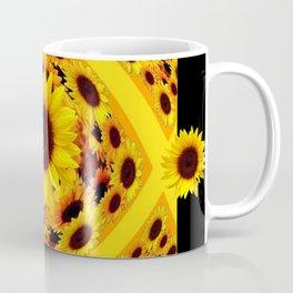 ABSTRACT BLACK GOLDEN YELLOW SUNFLOWER PATTERN Coffee Mug