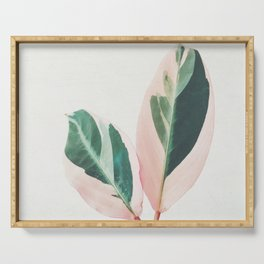 Pink Leaves I Serving Tray