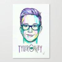 tyler oakley Canvas Prints featuring Tyler Oakley  by Stephanie Shaw