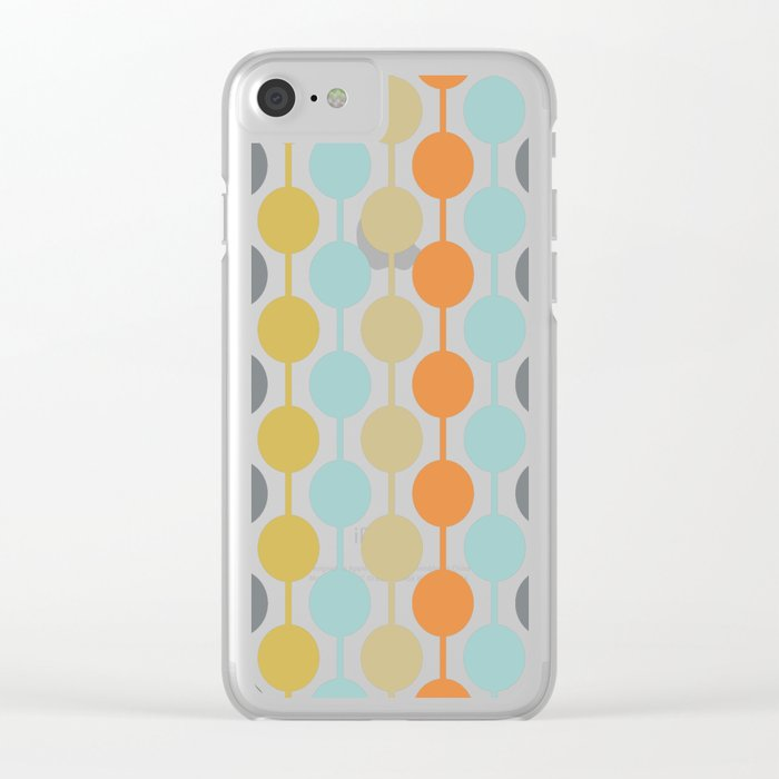Retro Circles Mid Century Modern Background Clear iPhone Case