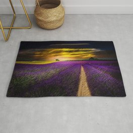Sunset over Lavender Fields Landscape Painting by Jeanpaul Ferro Rug