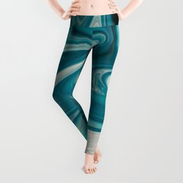 White & Teal Abstract Art Painting Leggings