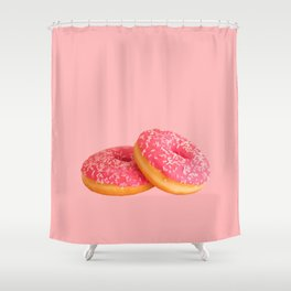 Pink Frosted Donuts (Color) Shower Curtain