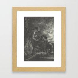 (La Valkyrie Acte 1er, Sieglinde et Siegmund) from the book Richard Wagner, sa vie et ses oeuvres by Framed Art Print