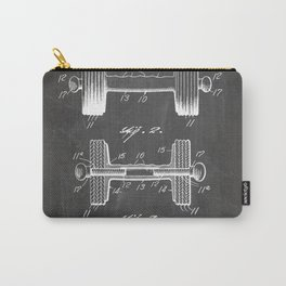 Weight Lifting Patent - Dumb Bell Art - Black Chalkboard Carry-All Pouch