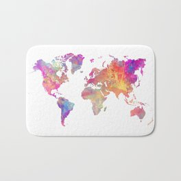 Map of the world Bath Mat