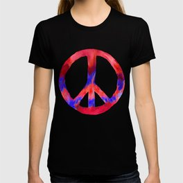 Patriotic Peace Sign Tie Dye Watercolor T-shirt