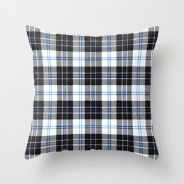 Rustic Plaid Pattern: Dark Blue Throw Pillow