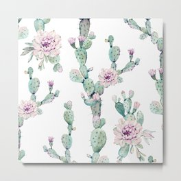 Arizona Desert Rose Cactus Pattern Metal Print