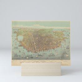 Vintage Pictorial Map of San Francisco CA (1878) Mini Art Print