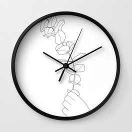 Minimal Hand Holding the Branch I Wall Clock