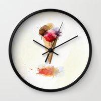 ice cream Wall Clocks featuring Ice cream by emegi