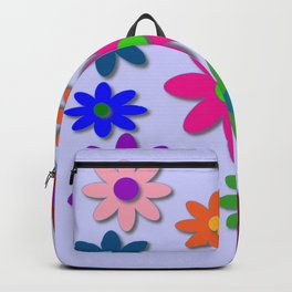 Flower Power - Light Purple Background - Fun Flowers - 60' Hippie Syle Backpack