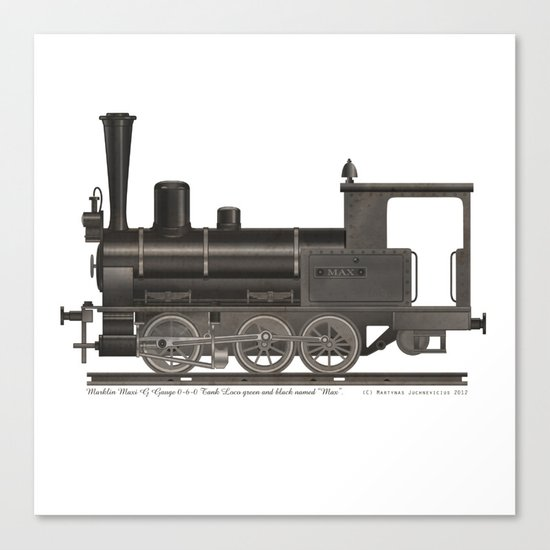 Locomotive Black Max Canvas Print