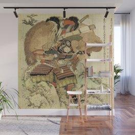 Hokusai – Hatakeyama Shigetada carrying his horse,  葛飾 北斎, Samurai,Genpei,Jidaigeki. Wall Mural