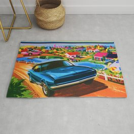 1970 Vintage Hot Wheels Redline Action City Center Poster Rug