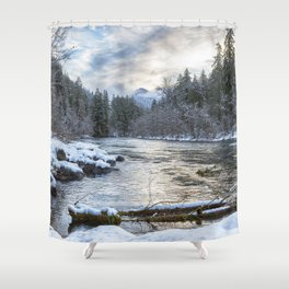 Morning on the McKenzie River Between Snowfalls Shower Curtain