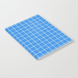Bleu de France - blue color - White Lines Grid Pattern Notebook