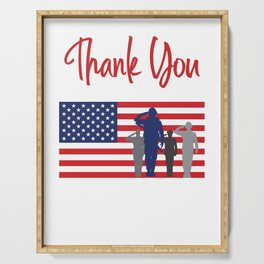 Thank You For Your Service Patriotic Veteran Serving Tray