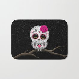 Adorable Pink Day of the Dead Sugar Skull Owl Bath Mat