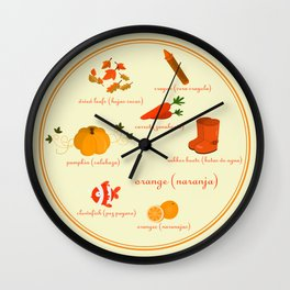 Colors: orange (Los colores: naranja) Wall Clock