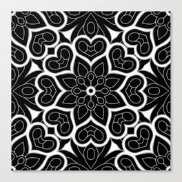Black and White Flower Hearts Canvas Print