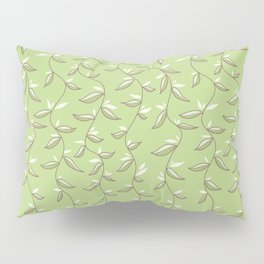 Gentle Green Leaves And Lianas Pattern Pillow Sham
