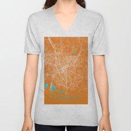 Escondido, CA, USA , Gold, Blue, City, Map Unisex V-Neck