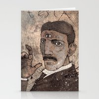 tesla Stationery Cards featuring Tesla by Joe Rowell Art