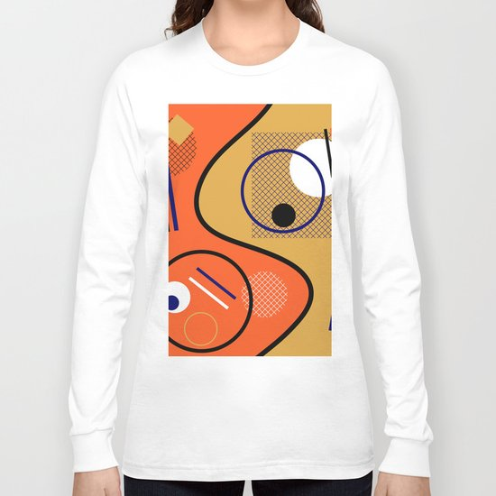 Opposing Sides - Abstract, orange and mustard, geometric, contrasting design Long Sleeve T-shirt