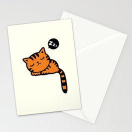 Cute sleeping kitten doodle Stationery Cards
