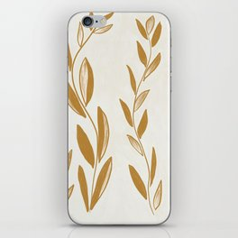 Golden leaves and stems iPhone Skin