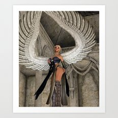 Winged Fantasy female Art Print