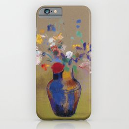 "Odilon Redon ""Flowers on a grey background (Fleurs sur fond gris)"" iPhone Case"