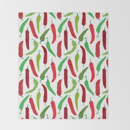 New Mexico Christmas Hatch Chiles in White Throw Blanket