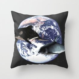 Whale & Dolphin in space Throw Pillow