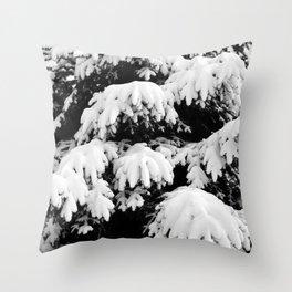 Snow Covered Fir Tree Throw Pillow