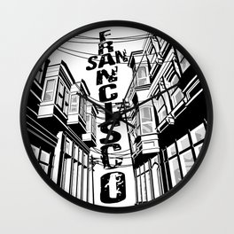 Cities in Black - San Francisco Wall Clock