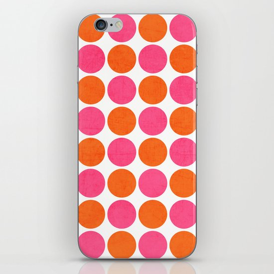 orange and hot pink dots iPhone & iPod Skin
